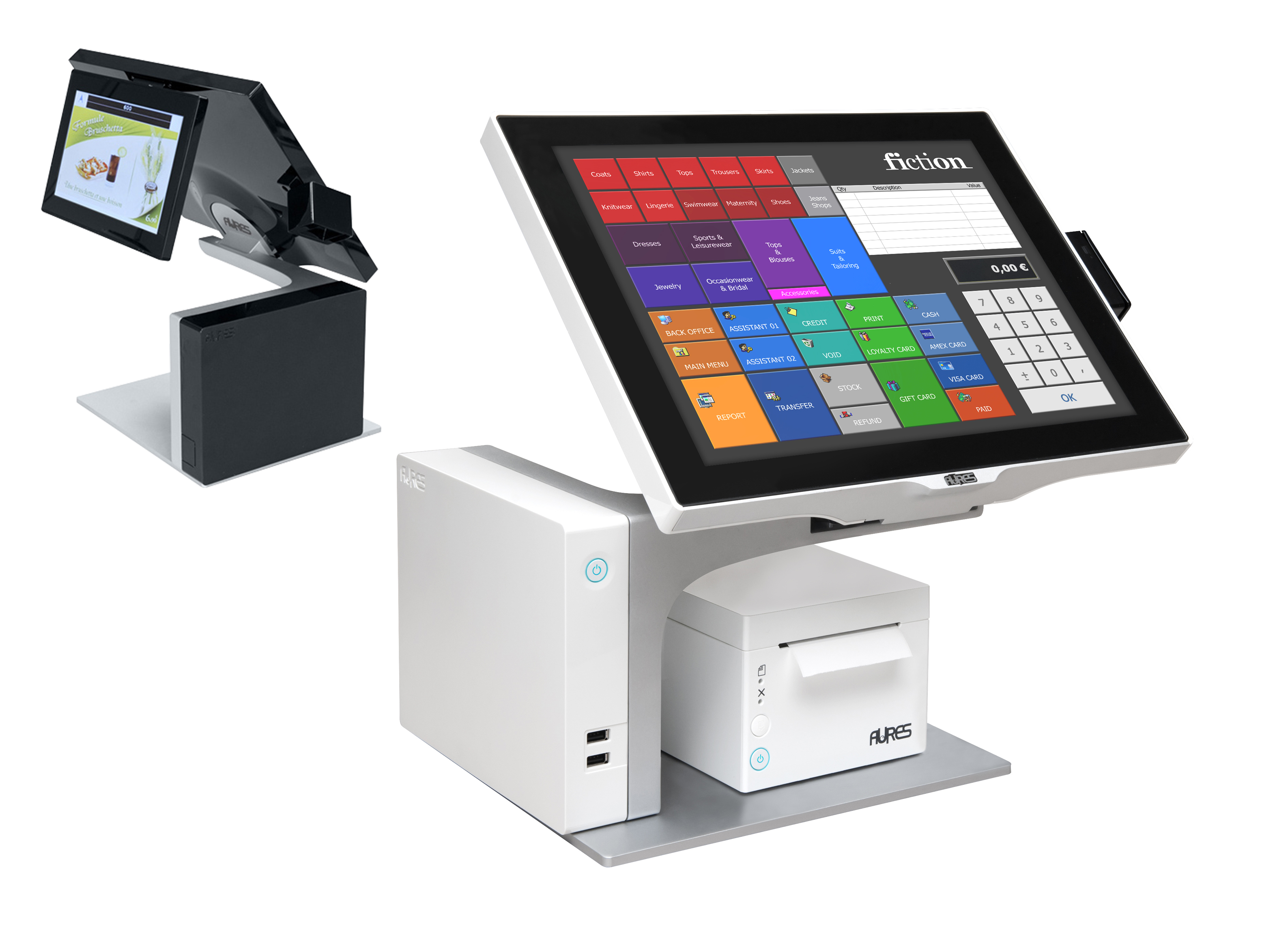 Aures Sango EPOS terminals in black and white